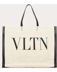 Valentino Garavani Vltn Canvas Shopper Bag - Natural