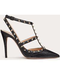 Valentino Valentino Garavani zapatos de salón rockstud de piel de elaphe con tacón de 100 mm - Negro