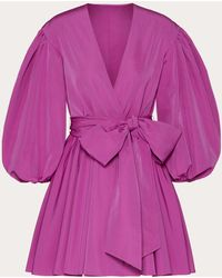 Valentino Wickelkleid aus micro faille - Lila