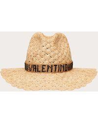 Valentino Garavani Borsalino X Valentino Garavani - Raffia Crochet Hat With Valentino Garavani-embroidered Ribbon. - Natural