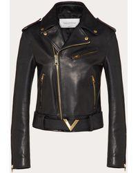 Valentino Vgold Leather Jacket - Black