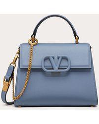 Valentino Garavani Small Vsling Grainy Calfskin Handbag - Blue
