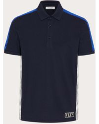 Valentino Valentino Cotton Polo Shirt With Vltn Tag Colour Block - Blue