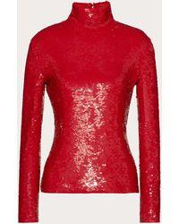 Valentino Besticktes top aus elastischem tüll - Rot