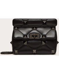 Valentino Garavani Medium Roman Stud The Shoulder Bag In Nappa With Chain And Tonal Studs - Black