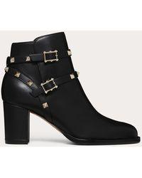 Valentino Garavani Rockstud Ankle Boot 70 Mm - Black