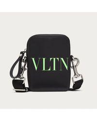 Valentino Small Vltn Leather Crossbody Bag - Black