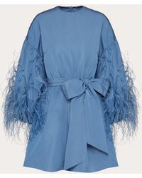 Valentino Feather Embroidery Dress In Micro Faille - Blue