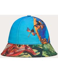 Valentino Garavani Bucket Hat Aus Nylon Mit Red Dragon - Yes F&r-print - Mettallic