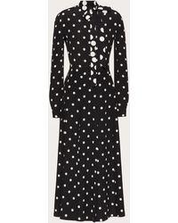 Valentino Bedrucktes kleid aus crêpe de chine - Schwarz