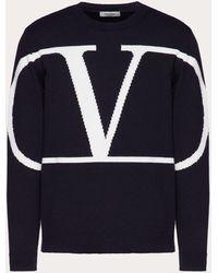 Valentino Vロゴ シグネチャー クルーネック ニットプル - ブルー