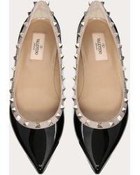 Valentino Garavani Patent Rockstud Ballet Flat - Black