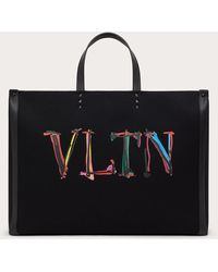 Valentino Garavani Bolso Shopper Grande Vltn Graph De Lona - Negro