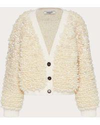 Valentino Cárdigan De Wool Mohair Polyamide Bordado - Blanco