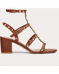 Valentino Garavani Rockstud Calfskin Ankle Strap Sandal 60 Mm - Brown