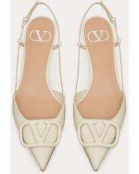 Valentino Garavani Valentino garavani zapatos de salón destalonados vlogo signature de charol con tacón de 40 mm - Blanco