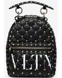 Valentino 'rockstud' Logo Print Mini Quilted Leather Backpack - Black