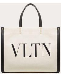 Valentino Garavani Valentino Garavani Small Vltn Print Canvas Tote Bag - White