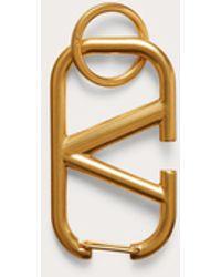 Valentino Garavani Valentino Garavani Vlogo Signature Keychain In Lacquered Metal - Metallic