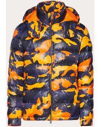 Valentino Camouflage Hooded Puffer Coat - Orange
