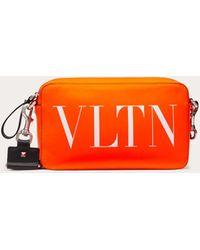 Valentino Garavani Vltn Fluorescent Leather Crossbody Bag - Orange