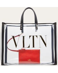 Valentino Garavani Bolso Shopper Pequeño Transparente Con Estampado Vltn - Rojo