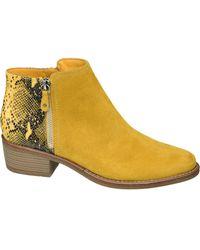 graceland Gele Enkellaars Slangenprint - Geel