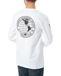 Vans T-shirt À Manches Longues X National Geographic Globe - Blanc