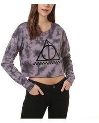 Vans X Harry Potter Deathly Hallows Longsleeve Crop Tee Purple/ Black - Lila