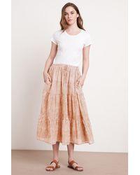 Mango Dina Printed Stripe Skirt In Tan/natural - White
