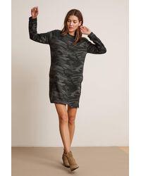 Velvet By Graham & Spencer Betsy Camo Fleece Long Sleeve Crew Neck Dress - Black
