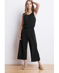 Mango - Aubriella Cotton Slub Sleeveless Jumpsuit In Black - Lyst