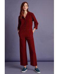 Velvet By Graham & Spencer Delaney Corduroy Long Sleeve Jumpsuit - Red