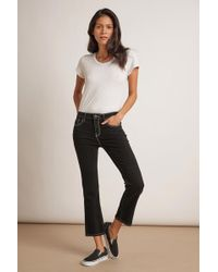 Velvet By Graham & Spencer Kaia Mid Rise Contrast Stitching Crop Jean - Multicolor