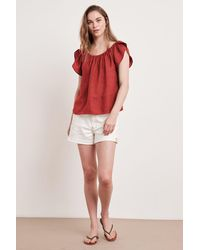 Mango Ceila Woven Linen Top In Rouge - Red