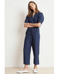 Velvet By Graham & Spencer Izabelle Woven Linen Jumpsuit - Blue
