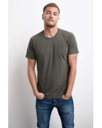 Mango Howard Whisper Classic Crew Neck Tee In Nettle - Green