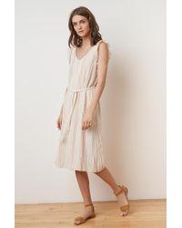 69b36ead01 Velvet By Graham   Spencer - Kevine Calico Stripe Belted V-neck Dress - Lyst