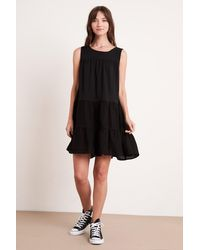 Mango Charlotte Cotton Slub Dress In Black