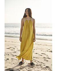 Mango Celesta Linen Maxi Dress In Sundance - Yellow
