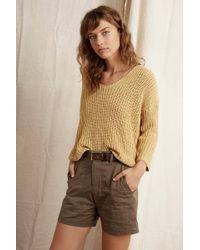 Velvet By Graham & Spencer - Maia Textured Tape Yarn V-neck Sweater - Lyst