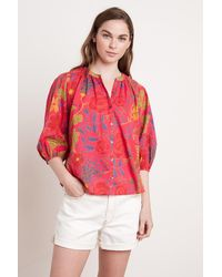 Mango Affie Madras Printed Voile Top In Red
