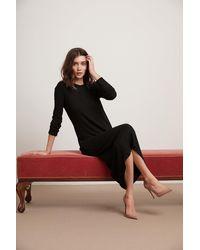 Velvet By Graham & Spencer Farah Cozy Rib Long Sleeve Dress - Black