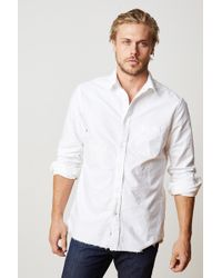 Velvet By Graham & Spencer - Jimmy Long Sleeve Cotton Raw Edge Button-up - Lyst
