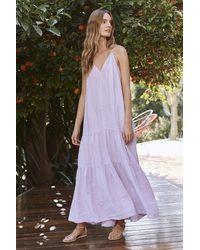 Mango Cleo Woven Linen Dress In Lilac - Purple