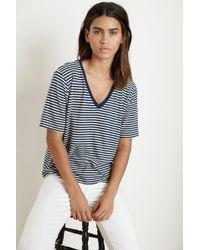 372785c94e9b Mango - Elena Stripe Linen Blend Knit V-neck Tee In Blue - Lyst
