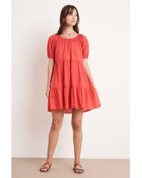 Mango Renelle Cotton Voile Dress In Hibiscus - Red
