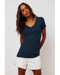 Velvet By Graham & Spencer - Lilith Cotton Slub V-neck Tee - Lyst