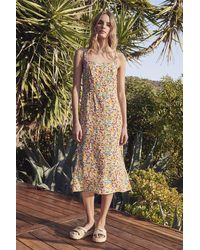 Mango Raya Printed Challis Dress In Blossom - Multicolour
