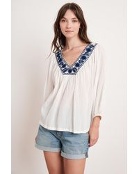 Mango Zaylee Hand Embroidery Top In White/blue